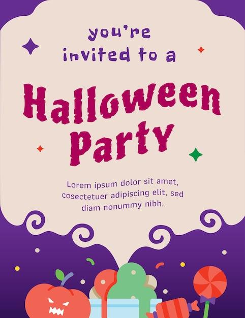 ハロウィンパーティー招待状のテンプレート Premiumベクター