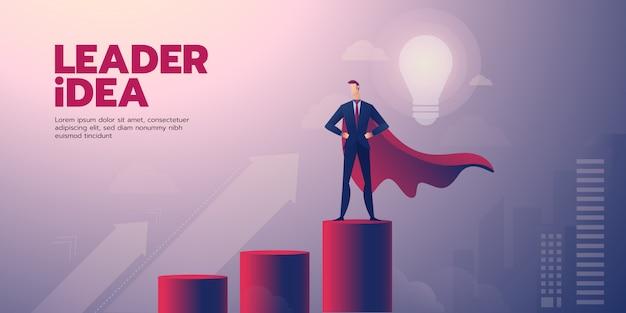 テキストと実業家リーダーシップバナー Premiumベクター