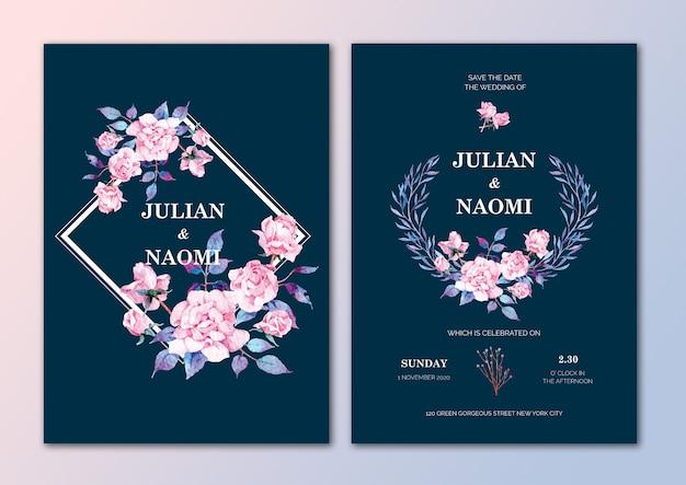 手描きの花の結婚式の招待カード Premiumベクター
