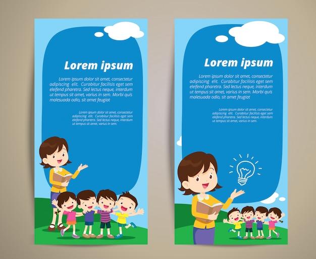 Воспитатель учитель детей мальчик и девочка для баннера Premium векторы