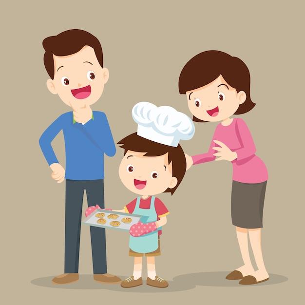 クッキーを調理する子供たち Premiumベクター