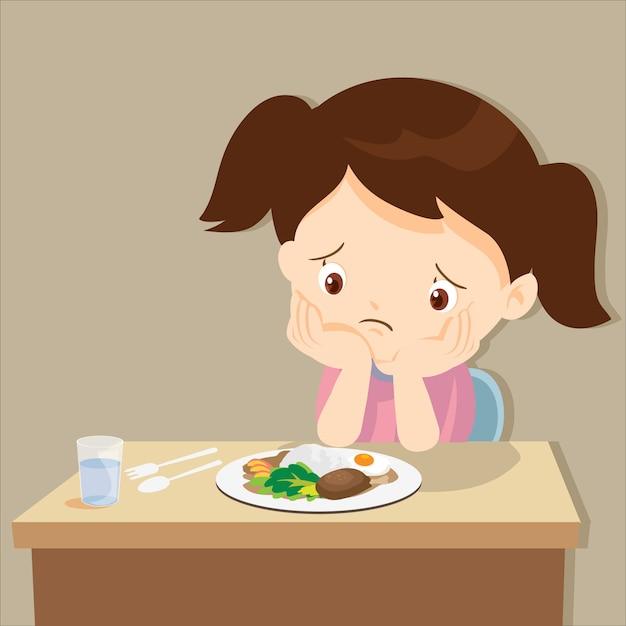食べ物に飽きた少女 Premiumベクター
