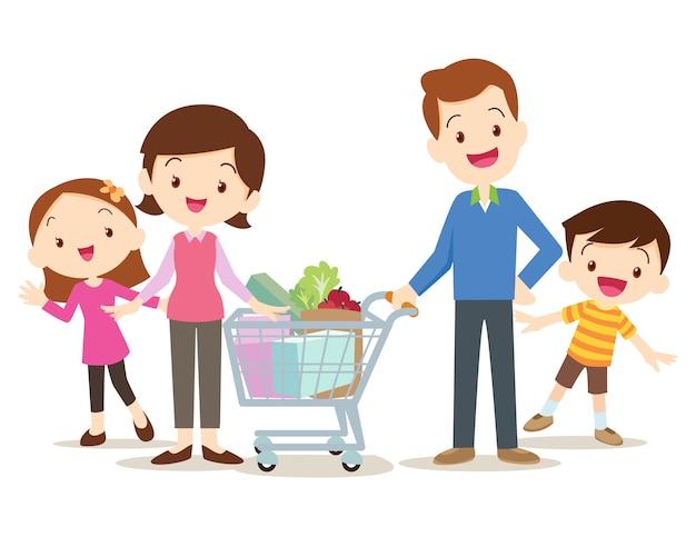 Милые семейные покупки на рынке вместе Premium векторы