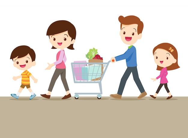 Симпатичная семья, делающая покупки вместе Premium векторы