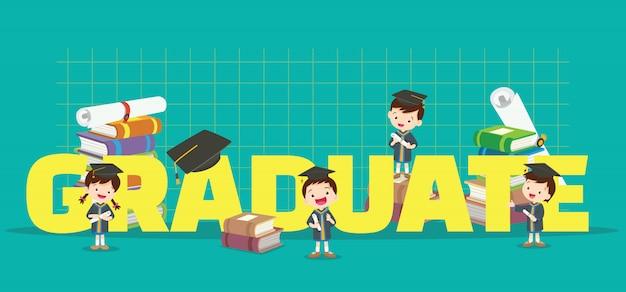 卒業バナーと子供 Premiumベクター