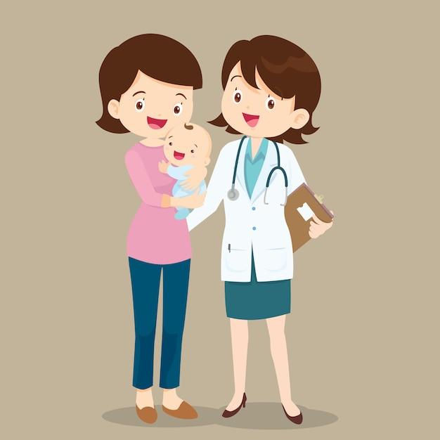 小児科医と赤ちゃんとママ Premiumベクター