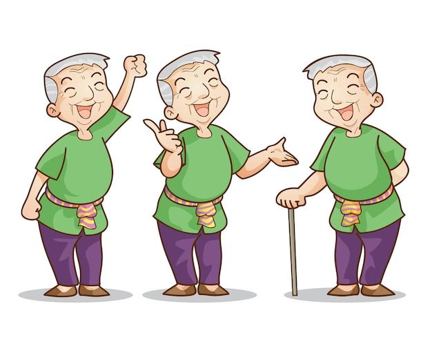 Набор персонажей мультфильма старик Premium векторы