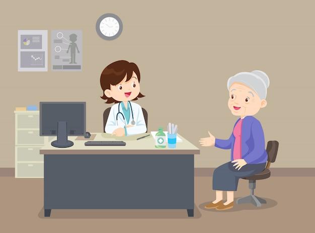 Бабушка доктора Premium векторы