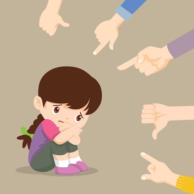 彼女をあざける指差し手で囲まれた床に座っている悲しい少女 Premiumベクター