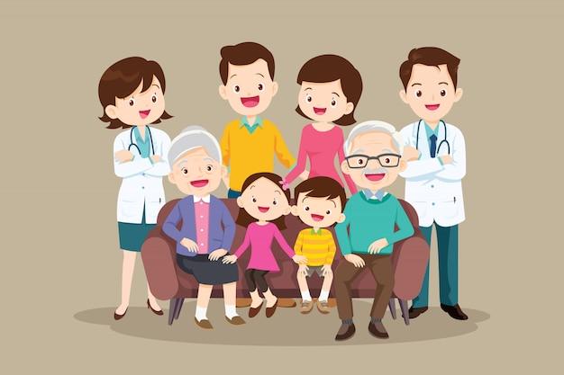 ソファーに座っている医者と幸せな大家族 Premiumベクター