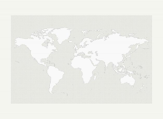 白い背景の上の灰色の丸ドットパターンの世界地図 Premiumベクター