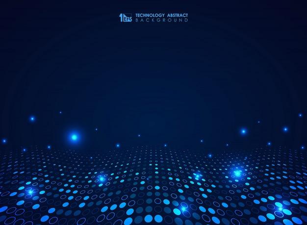 未来的なブルーテクノロジーサークルドットパターン波状デザインの背景 Premiumベクター