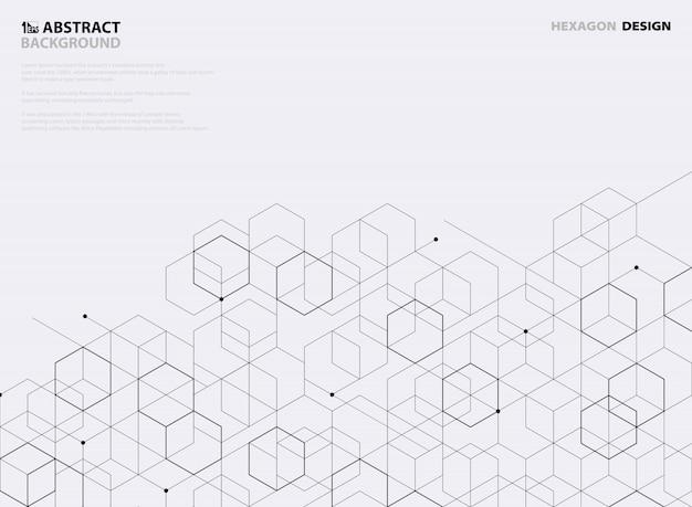 白い背景の上の抽象的な黒い六角形パターンデザイン。 Premiumベクター