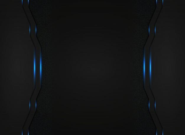 青い光と抽象的な黒の技術テンプレートは背景をキラキラします。 Premiumベクター