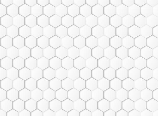 抽象的なグラデーションの白とグレーの六角形の幾何学的な紙は背景をカットしました。 Premiumベクター