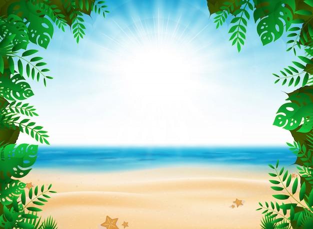日当たりの良いビーチの背景に自然装飾が施された抽象的な夏休み。 Premiumベクター
