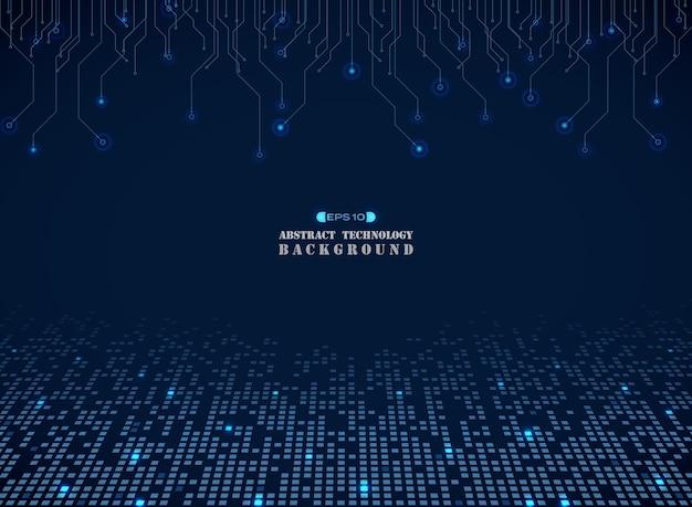 青い正方形のエレクトロニクスパターンの背景技術 Premiumベクター