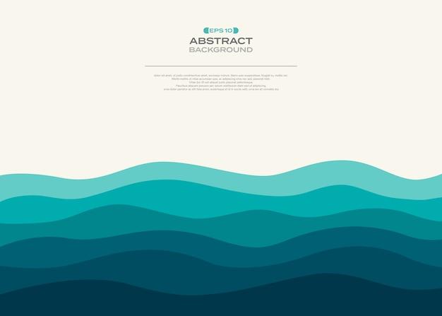 抽象的な青い波状の海の背景。 Premiumベクター