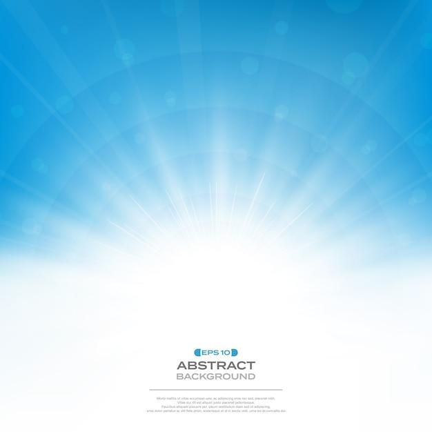クリーンな青い空の背景に太陽バースト効果の中心 Premiumベクター