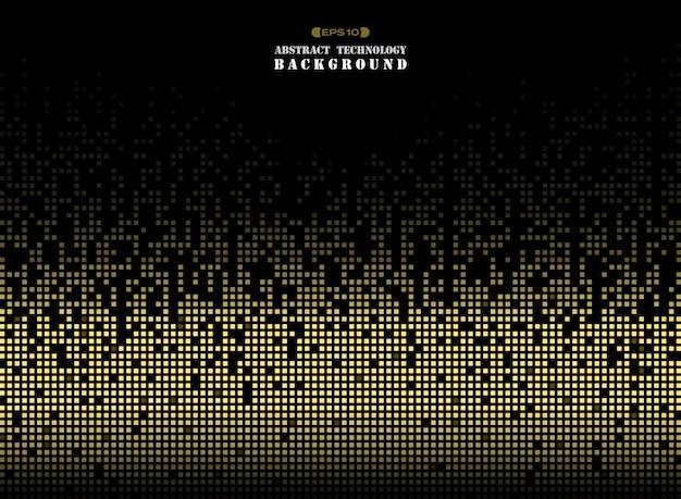 ゴールデンカラースクエアパターンのピクセル背景の技術。 Premiumベクター
