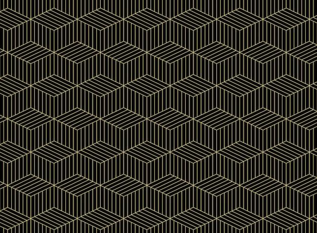 黒い背景に幾何学的な金のグリッド線パターンの要約。 Premiumベクター