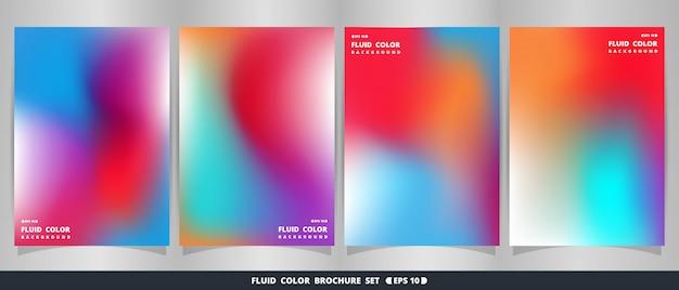Абстрактный современный яркий жидкий красочный набор брошюры. Premium векторы