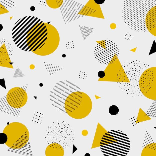 抽象的なカラフルな幾何学的なイエローブラックカラーパターン Premiumベクター