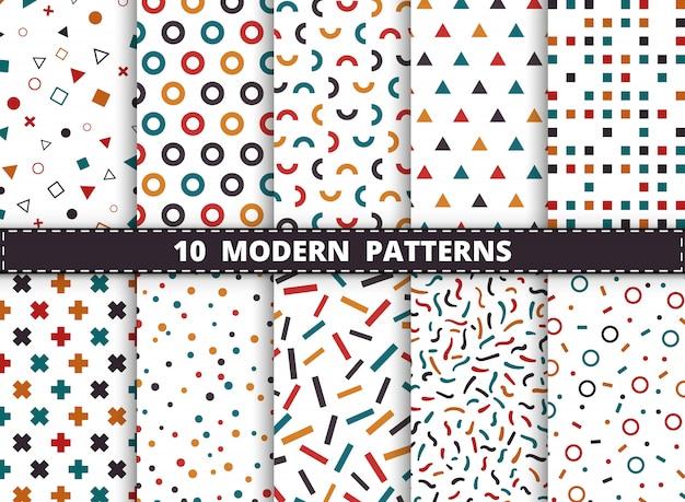 抽象的なカラフルなモダンな幾何学模様は白い背景に設定します。幾何学模様のアートワーク、広告、包装、印刷のスタイルを飾る。 Premiumベクター