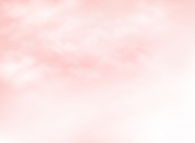 雲模様の背景を持つ明確なピンクの生きているサンゴの空 Premiumベクター