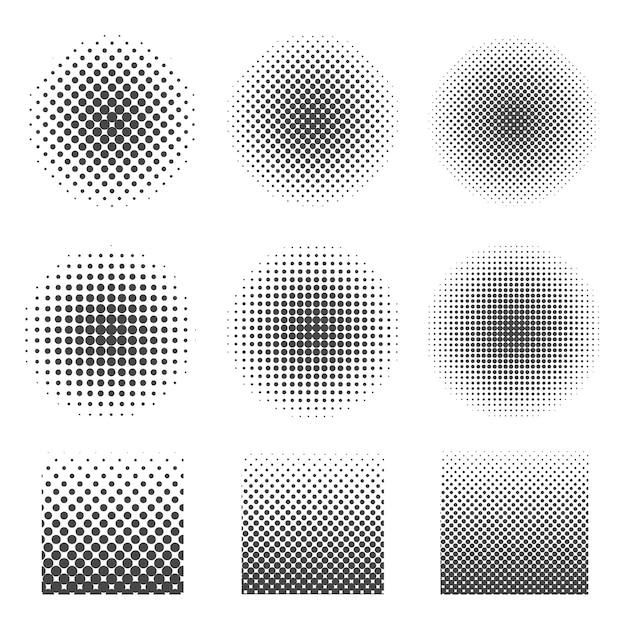 円と正方形の抽象的なハーフトーンセット。 Premiumベクター
