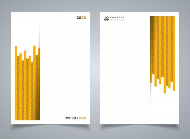 テンプレートのパンフレットの背景の抽象的な現代的な黄色の縞線パターン。 Premiumベクター