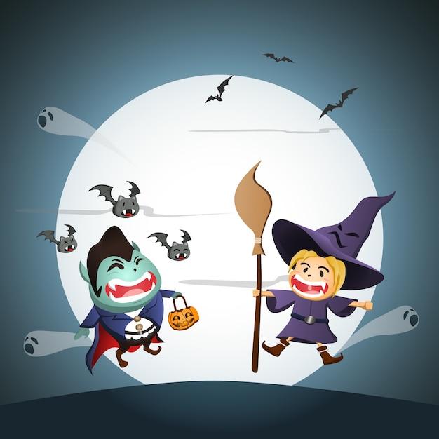 かわいい吸血鬼と魔女の前に月 Premiumベクター
