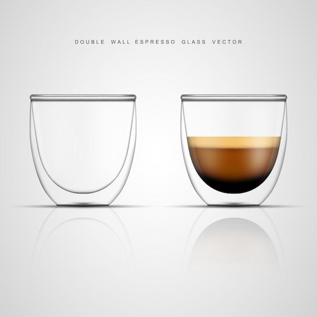 現実的なエスプレッソグラスと空の二重壁ガラス Premiumベクター