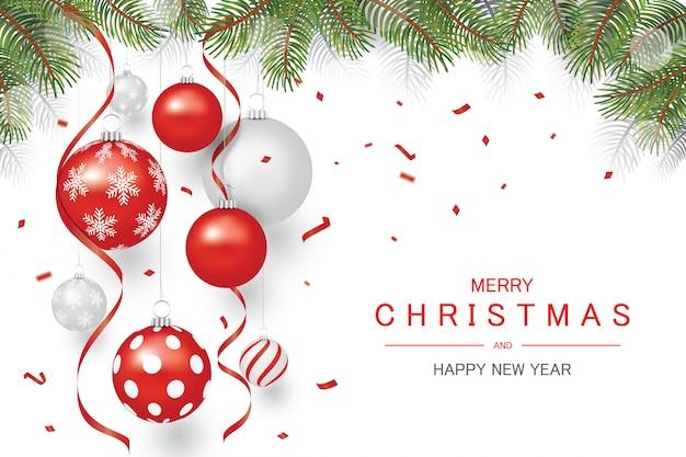 赤と銀の飾りクリスマスボールとツリーの上の赤い紙吹雪、休日のクリスマスと幸せな新年の背景、 Premiumベクター