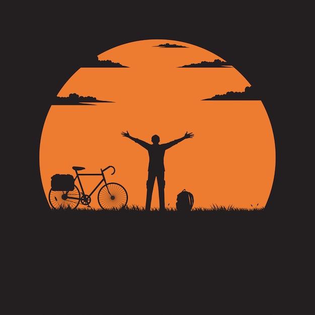 太陽と草原に手を上げる男スタンドをシルエットします。 Premiumベクター