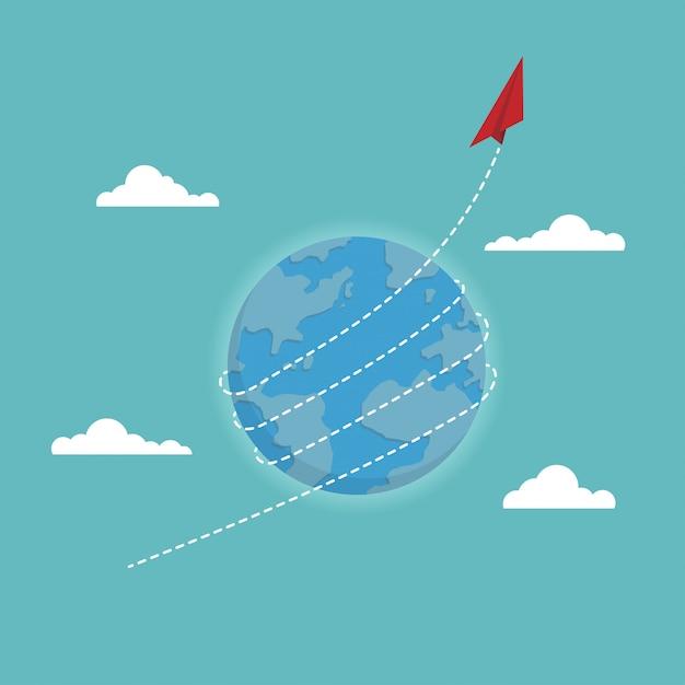 Красный бумажный самолетик летает по всему миру Premium векторы