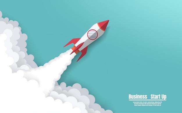 空へロケット打ち上げ Premiumベクター
