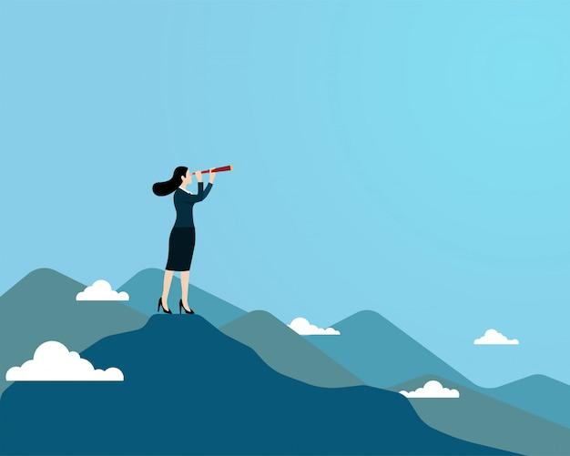 上の山の上に立って望遠鏡をしている女の人 Premiumベクター