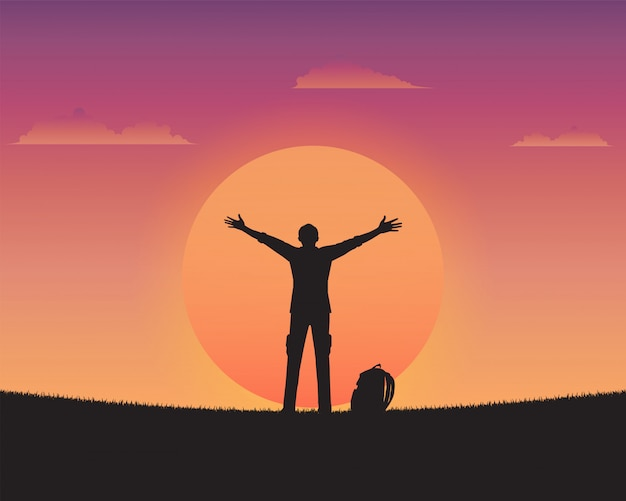 Силуэт счастливого человека на фоне заката Premium векторы