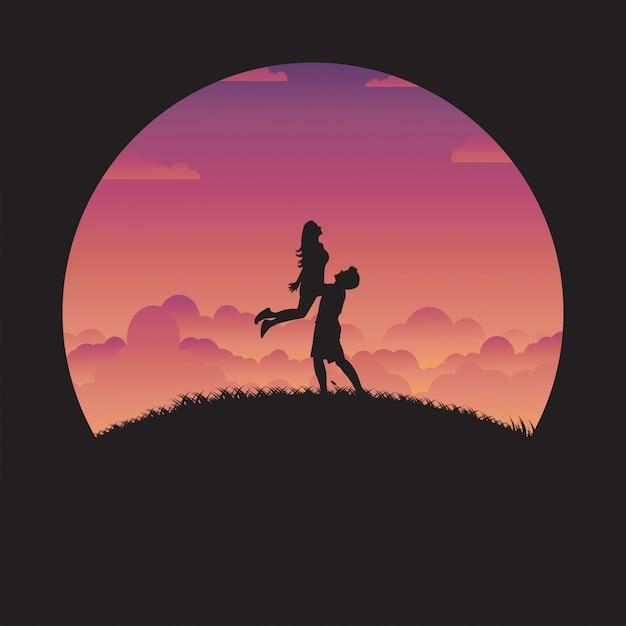 夕日と恋にシルエット幸せなカップル Premiumベクター