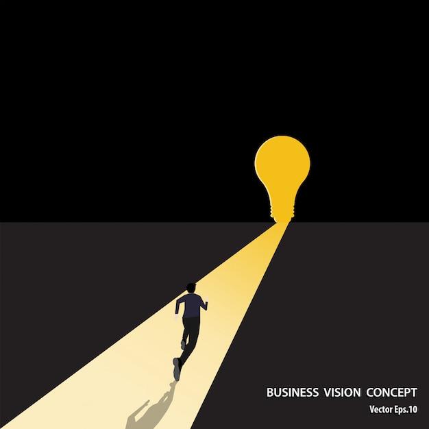 Бизнесмен бежать к цели Premium векторы