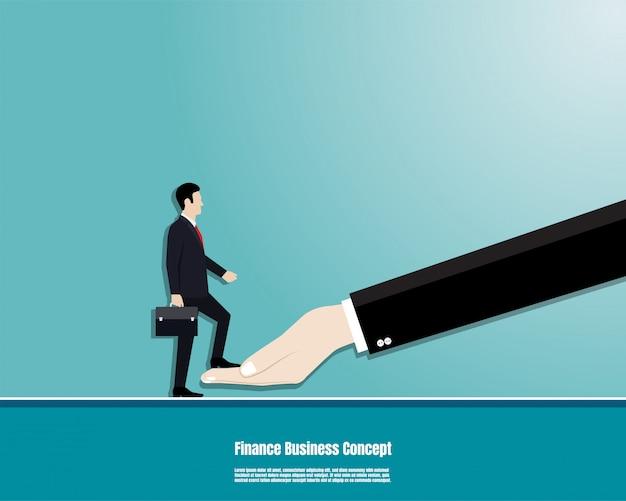 ブリーフケースを持ったビジネスマンが目標に上司の手に歩く Premiumベクター