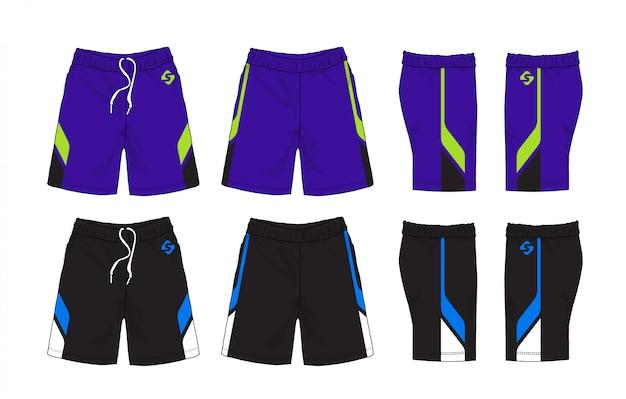 スポーツショーツデザインのセットです。 Premiumベクター
