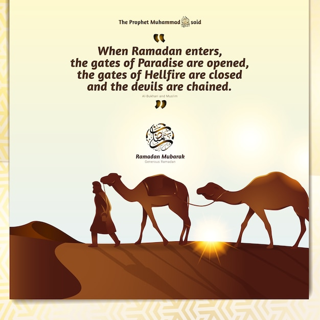 ベドウィンと空の図の下の砂漠の砂丘のラクダ Premiumベクター