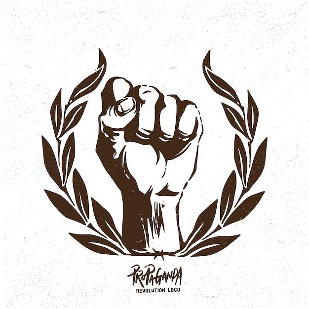 プロパガンダ革命拳ロゴ Premiumベクター