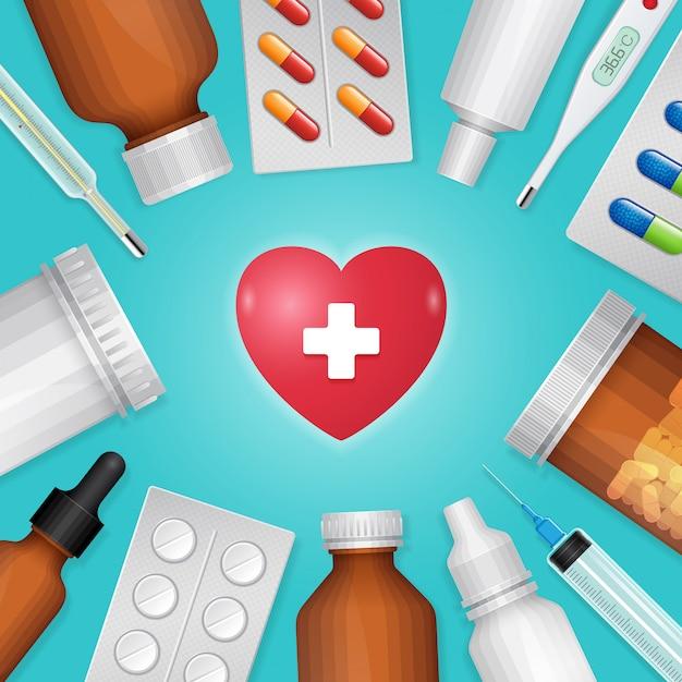 ヘルスケアと医療の心臓とボトルの丸薬 Premiumベクター