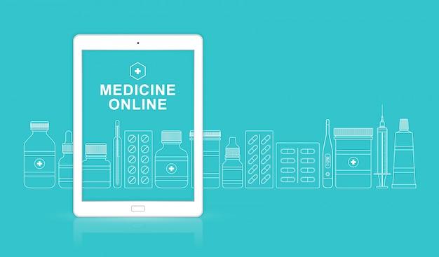 薬と健康管理と医療のオンラインアプリ Premiumベクター
