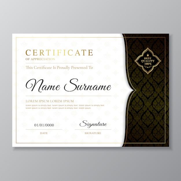 黄金と黒の証明書と卒業証書のデザインテンプレート Premiumベクター