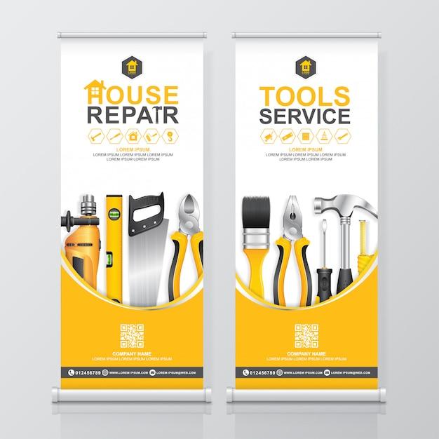 建設ツールサービスロールアップデザイン、バナーの立ち客のテンプレート Premiumベクター