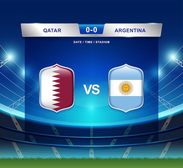 カタール対アルゼンチンスコアボード放送サッカーコパアメリカ Premiumベクター